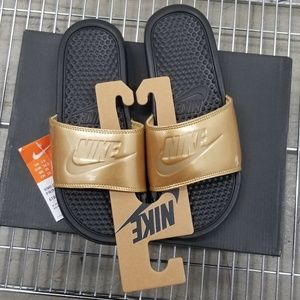 Nike Women's Benassi JDI Metallic Gold Slides
